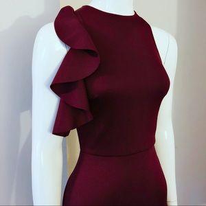 ASOS Peplum Cold Shoulder Ruffle Dress